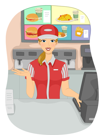 chain food: Illustration of a Girl Working as a Cashier in a Fast Food Chain