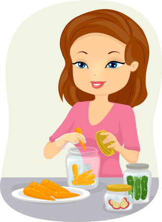 Illustration of a Woman Canning Fruits and Vegetables Stock Photo