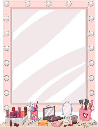 dressing room: Illustration of a Vanity Mirror with an Assortment of Cosmetics Lying in Front of It Stock Photo