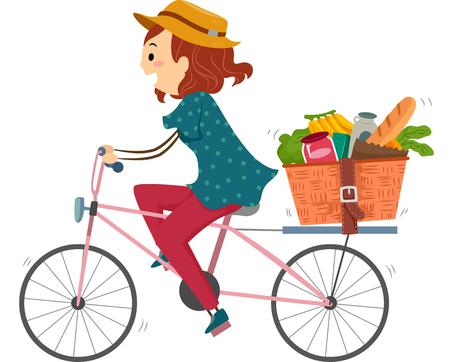 bicycles: Illustration of a Woman on a Bike Returning from Grocery Shopping