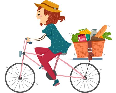 bicicleta: Ilustración de una mujer en una bici Al regresar de compras en el supermercado