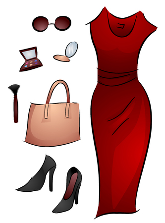 associated: Illustration of Different Elements Associated with Beauty and Fashion Stock Photo