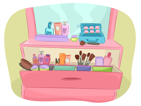 dresser: Illustration of a Pink Dresser Full of Beauty Products