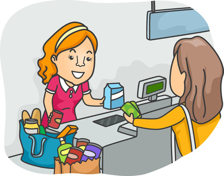 buying: Illustration of a Shopper Standing in Front of a Cashier Stock Photo