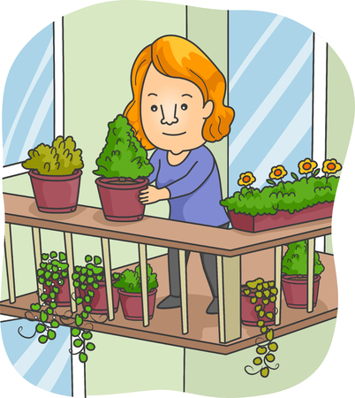 Illustration of a Woman Organizing the Pots on Her Balcony Stock Photo