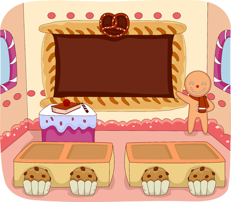 baking: Illustration of a Gingerbread Man Teaching a Class Full of Pastries