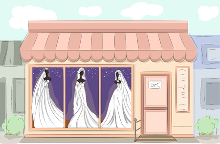 display window: Illustration of a Boutique Displaying Bridal Gowns with Different Styles