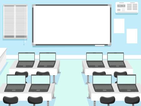 Illustration eines Computerlabor mit Laptops auf jedem Sitz Assigned