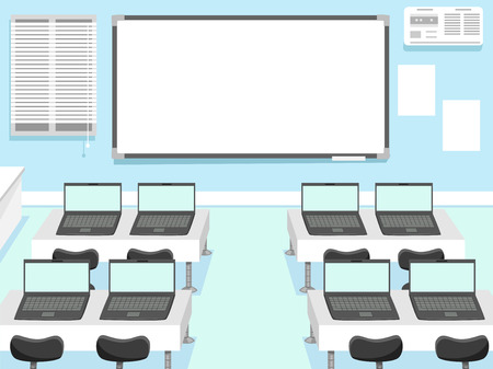 classrooms: Illustration of a Computer Laboratory with Laptops Assigned to Each Seat