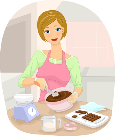 homemade: Illustration of a Woman Making Homemade Chocolates