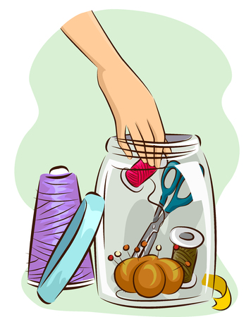 hand craft: Illustration of a Large Mason Jar Being Used to Store Sewing Materials