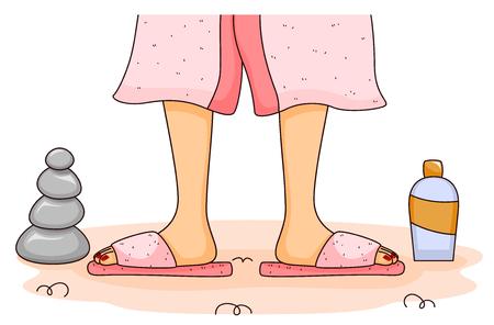 mimos: Ilustración de una mujer a punto de ser fregada sus pies en un balneario Foto de archivo