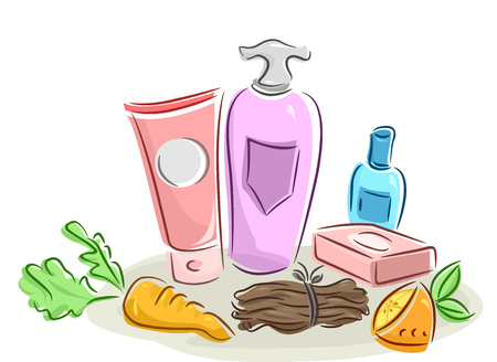 toiletry: Illustration of Beauty Products Made from Organic Ingredients