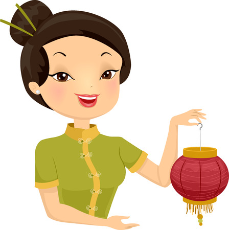 asian woman: Illustration of an Asian Girl Carrying a Chinese Lantern Stock Photo