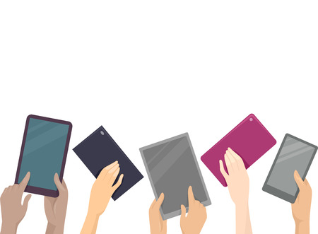 millennial: Cropped Illustration of Hands Raising Computer Tablets