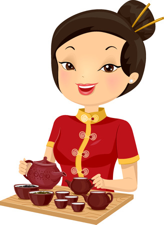 chinese dress: Illustration of a Girl in a Cheongsam Preparing Tea