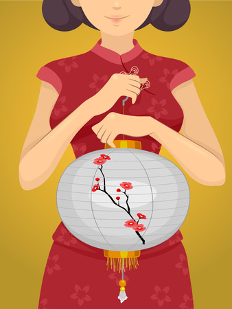 Illustration of a Chinese Girl in a Cheongsam Carrying a Chinese Lantern Stock Photo