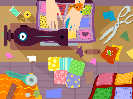 Illustration of a Person Sewing a Colorful Quilt Stock Photo