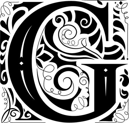 letras negras: Ilustración de un monograma de la vendimia que ofrece la letra G