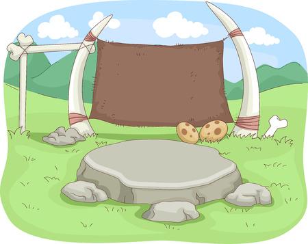 edad de piedra: Ilustración de un aula envejecida piedra decorada con fósiles