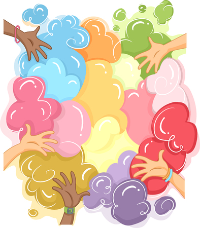 colored: Cropped Illustration of Hands Playing with Colorful Powder