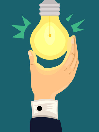 brillant: Illustration of a Light Bulb Lighting Up After Being Turned On Stock Photo