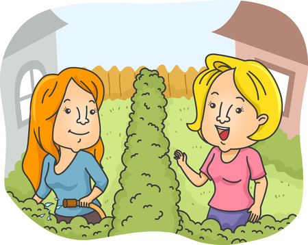 socialize: Illustration of Female Neighbors Greeting Each Other Stock Photo