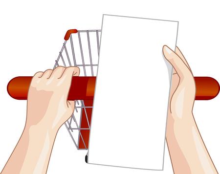 Illustratie van een persoon Zijn Shopping List controleren terwijl het duwen hun kar