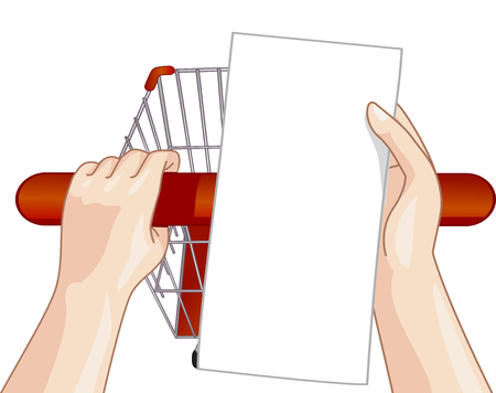 cart: Illustration of a Person Checking His Shopping List While Pushing Their Cart