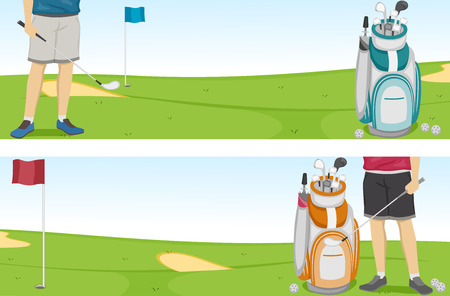 golf bag: Banner Illustration of a Golfer and a Golf Bag Filled with Clubs