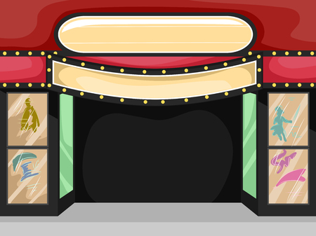 moviehouse: Illustration of a Theater Sign with a Blank Sign Above It