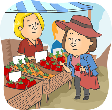 Illustration of a Woman Checking Tomatoes at a Farmer's Market