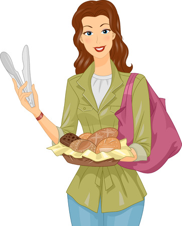 bread basket: Illustration of a Woman Carrying a Basket of Bread Stock Photo