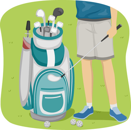 golf bag: Cropped Illustration of a Man Standing Beside a Golf Bag Stock Photo