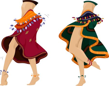 bailarinas: Ilustraci�n recortada de Belly Dancers realizando una danza