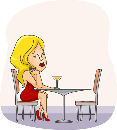 loner: Illustration of a Sad Woman Waiting for Her Date