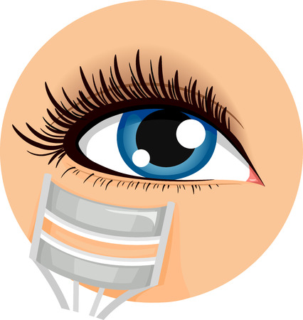 Illustration of an Icon Demonstrating How to Use an Eyelash Curler Stock Photo