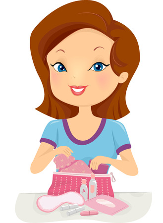 puberty: Illustration of a Girl Gathering the Contents of Her Puberty Kit