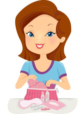 pubertad: Ilustraci�n de una chica Encuentro el contenido de su kit de la pubertad Foto de archivo