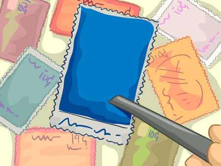 stamp collecting: Illustration of a Pair of Tongs Being Used to Pick Up a Stamp Stock Photo