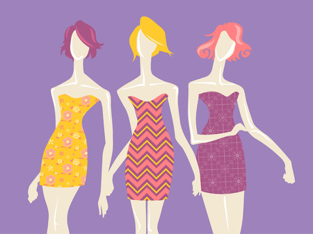 modeling: Illustration of Mannequins Modeling Dresses with Colorful Prints Stock Photo