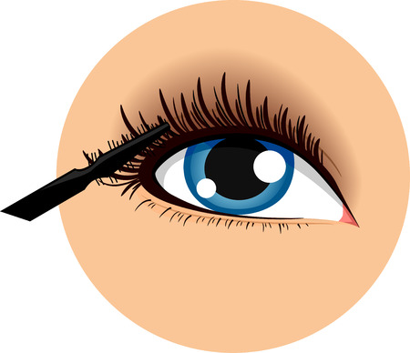 mascara: Illustration of an Icon Demonstrating How to Use a Mascara