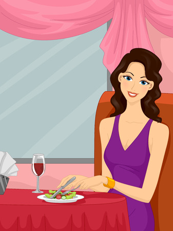 upmarket: Illustration of a Girl Dining at a Fancy Restaurant Stock Photo