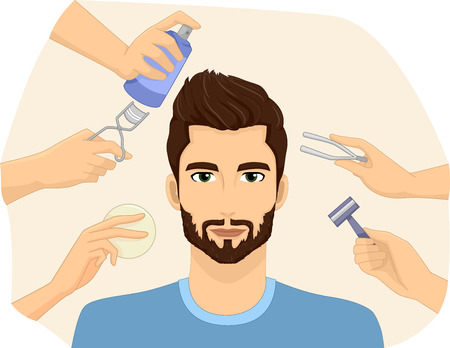 groomed: Illustration of a Metrosexual Man Being Groomed