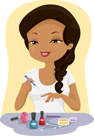 finger paint: Illustration of a Girl Painting Her Finger Nails Stock Photo