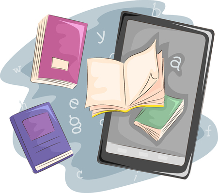 educational: Illustration of Books Sitting Side by Side with an Ebook Reader