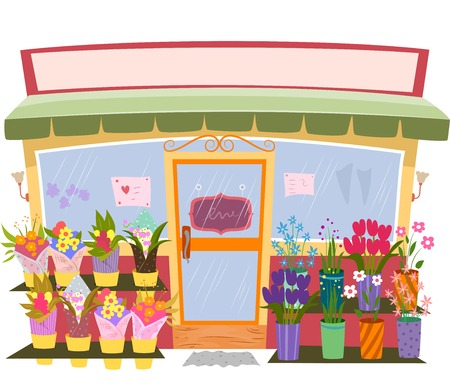 Illustration of a Flower Shop with a Blank Sign Above It