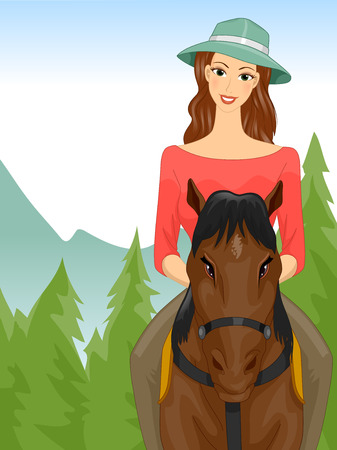 pastimes: Illustration of a Woman on a Horseback Riding Tour