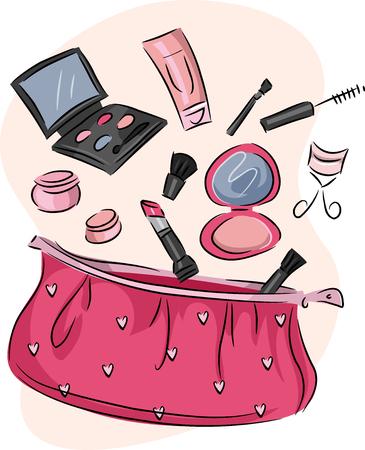 Illustration d'une bourse rose contenant un assortiment de produits cosmétiques