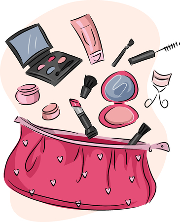 assortment: Illustration of a Pink Purse Containing an Assortment of Cosmetic Products Stock Photo